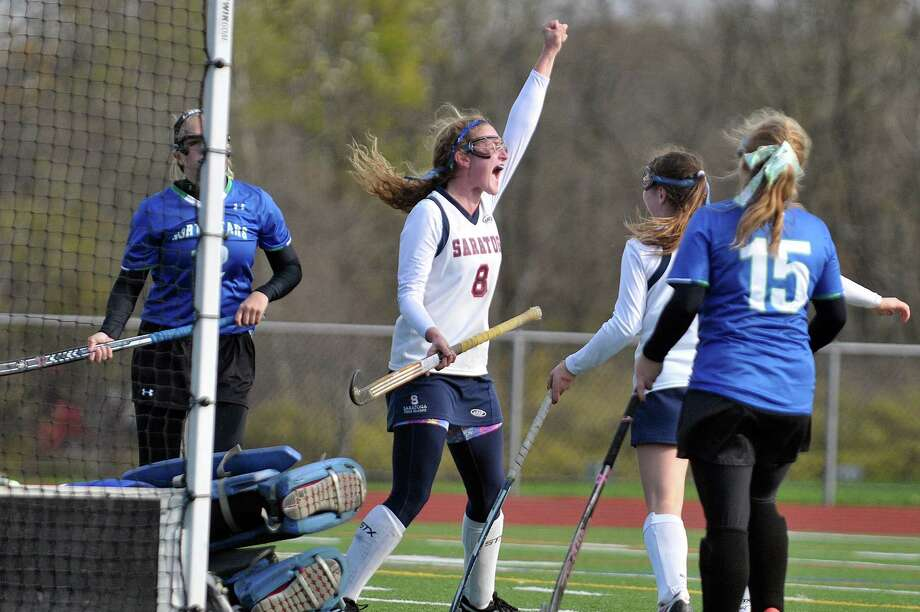 Carley Barnes of Saratoga Springs High School celebrates her late game goal against Cicero-North Syracuse during their sub-regional state championship playoff game at Schuylerville High School on Wednesday, Nov. 5, 2014, in Schuylerville, N.Y.  (Paul Buckowski / Times Union) Photo: Paul Buckowski / 00029337B