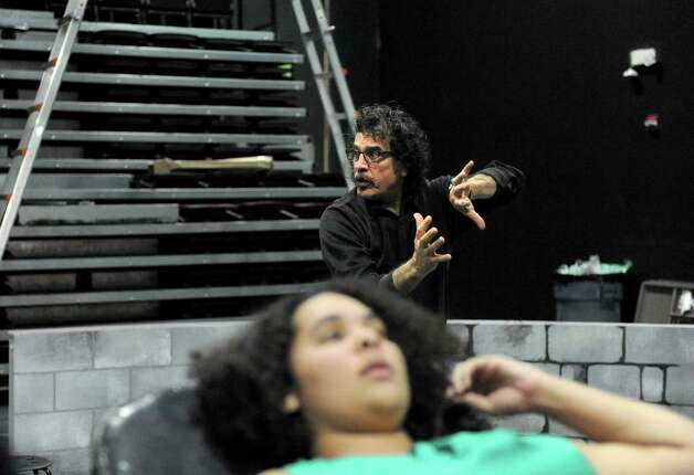 """Mahmood Karimi Hakak directs a rehearsal for """"Child Soldier,"""" about child soldiers and civil war in Liberia written by author Thalia Cunningham at Siena College on Tuesday Nov. 4, 2014 in Loudonville, N.Y. (Michael P. Farrell/Times Union) Photo: Michael P. Farrell / 00029285A"""