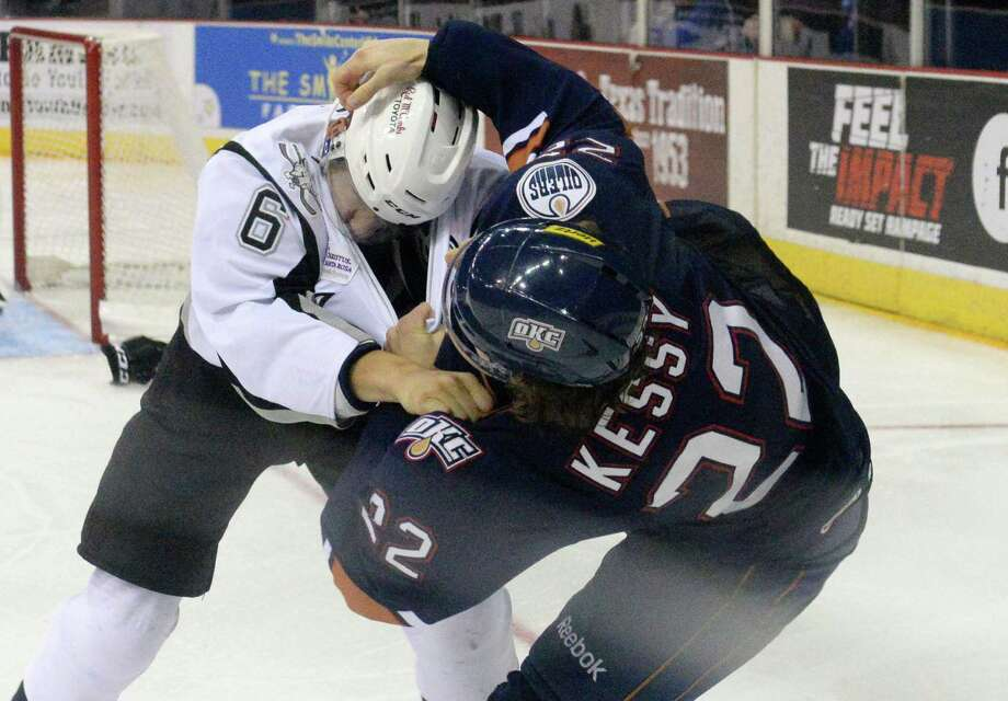 Players tangle in Oklahoma City Barons- Rampage game Nov. 9. Photo: Andrew C. Patterson / Andrew C. Patterson