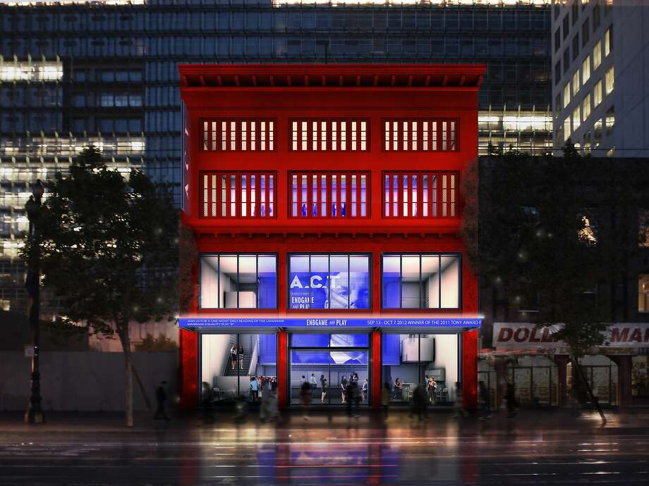 A rendering of the view at night of the Strand Theater at 1127 Market St., built in 1917 and restored for the American Conservatory Theater by the San Francisco office of Skidmore Owings & Merrill. Photo: Som, SOM