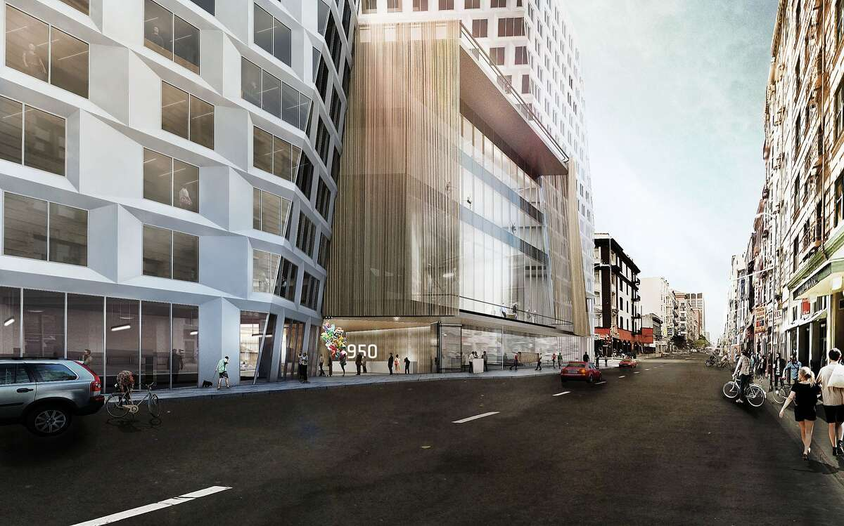 The largest project proposed for mid-Market Street is a complex that would would include a hotel, more than 300 residential units and, in the center, space for arts groups. The address is 950 Market and the site takes up nearly all the block between Market, Turk and Taylor streets. The architect is BIG for developer Group I. This perspective faces west on Turk, with the