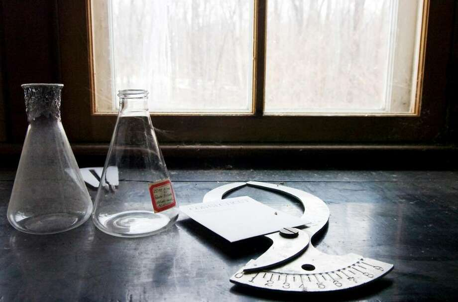 A variety of lab tools sit on a windowsill in Francis Bartlett's original laboratory at the Bartlett Arboretum and Gardens.  The Education Center at the Bartlett Arboretum will be completely renovated with money from a recent $250,000 donation in Stamford, Conn. on Wednesday,  Feb. 24,  2010. Photo: Kathleen O'Rourke / Stamford Advocate
