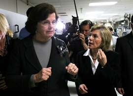 Sens. Dianne Feinstein, left, and Barbara Boxer in 2010.