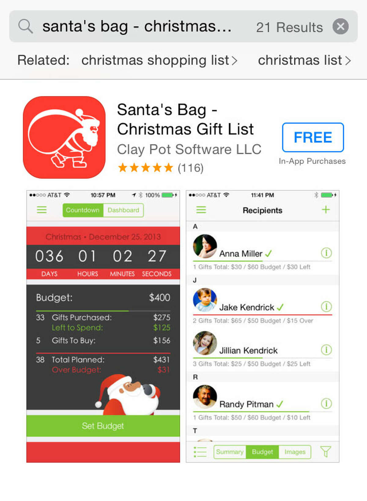For help managing your shopping needs, download a free gift list app like Santa's Bag for iPhone to keep track of ideas and purchases. These apps also contain a budget function, which will let you know when you meet or exceed your budget for gift recipients.