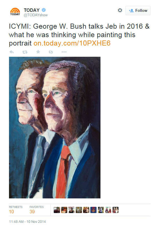 George W. Bush unveiled a new portrait of his father George H.W. Bush on the Today Show, Monday, Nov. 10, 2014. George W. Bush is releasing a book about his father. See more of the former president's artwork.
