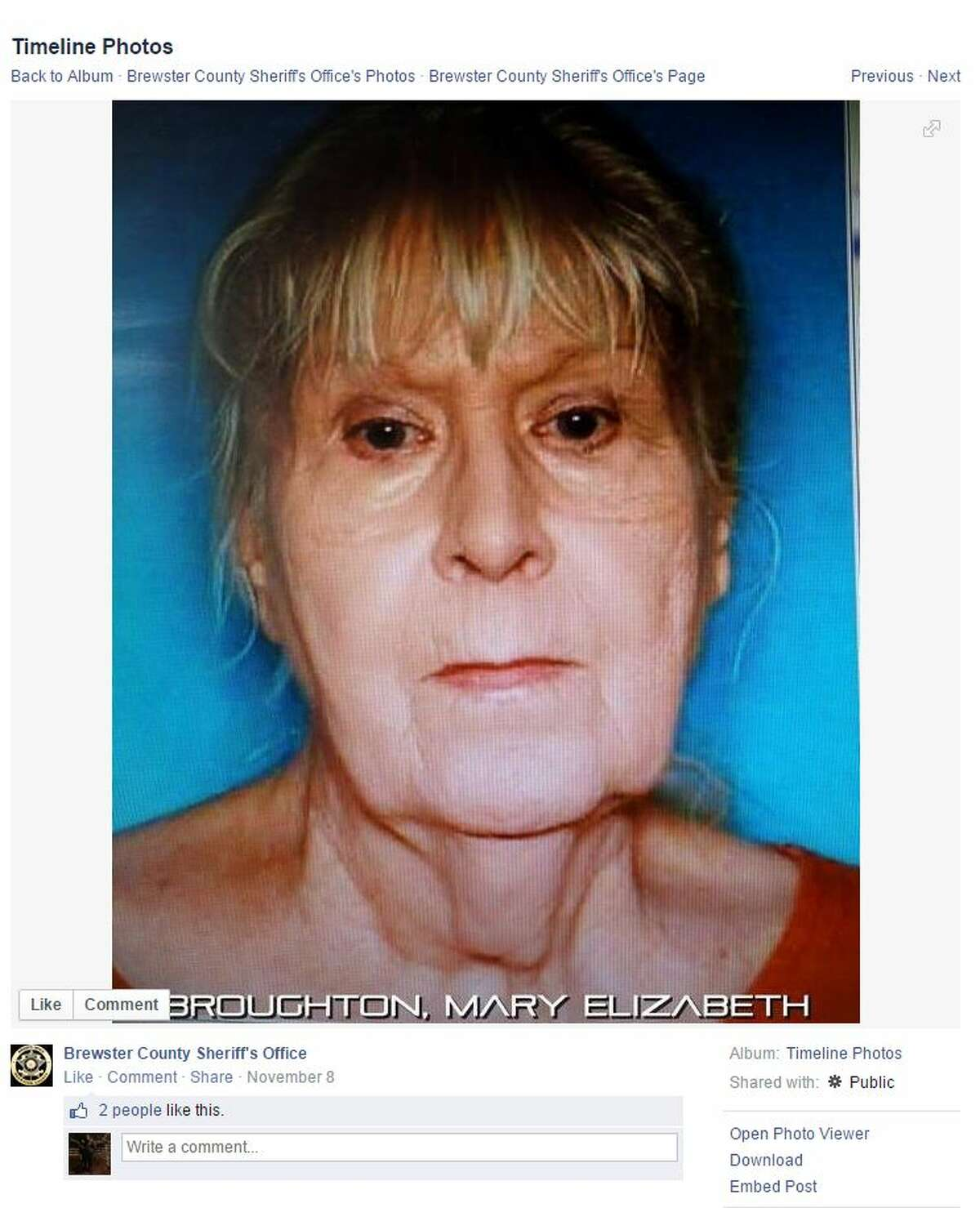 Police have found the body of a missing Terlingua woman whose daughter was sentenced to 10 years in prison for hiding her father's body in a Kentucky storage unit for 24 years and using his Social Security benefits. Officers found Judith Broughton's remains in a blue tarp hidden underneath the kitchen floor in her daughter Mary Broughton's house, NewsWest9.com reported Wednesday.