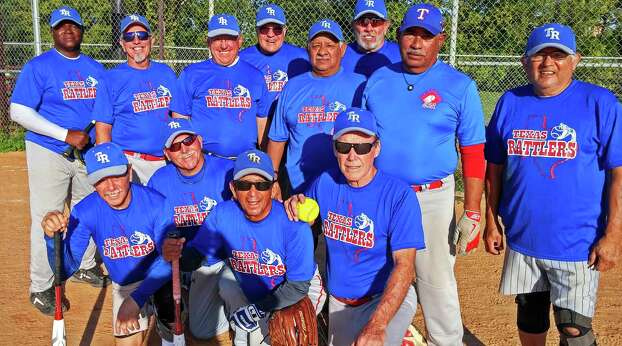 The Texas Rattlers are the 2014 San Antonio Senior Softball End of Season Champions in the 65-year-old division. They were undefeated, and beat the S.A. Legends in the Nov. 1 championship game at Normoyle Park. The Legends were the 2013 champs. Shown left to right, front row are: Terry Wong, Gary Kirk, Marty Cavazos and Elroy Friesenhahn; back row, Jonathan Brown, Bill Gollihar, Ron Freund, Bob Lindemann, Rudy DeLaCruz, Bob Davis, Mando Soliz and Juan Hernandez. Not pictured are team members Rick Hammock, John Beard, Fred Rawlinson, Bob Franz and Tommy John. Photo: Courtesy