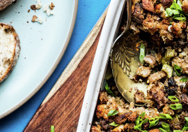 Francis' Ang's Sisig Stuffing. Styled by Kiersten Stevens.