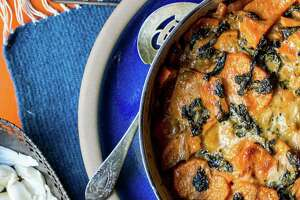 Lauren Kiino's sweet potato and kale gratin - Photo
