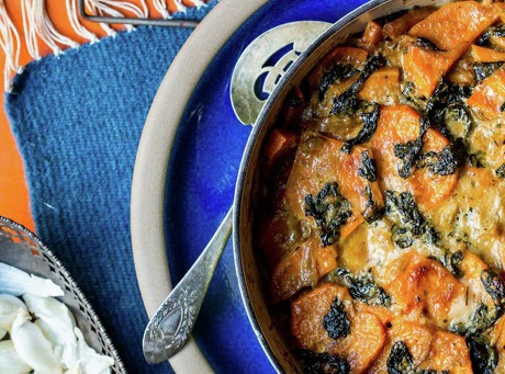 Sweet Potato and Kale Gratin
