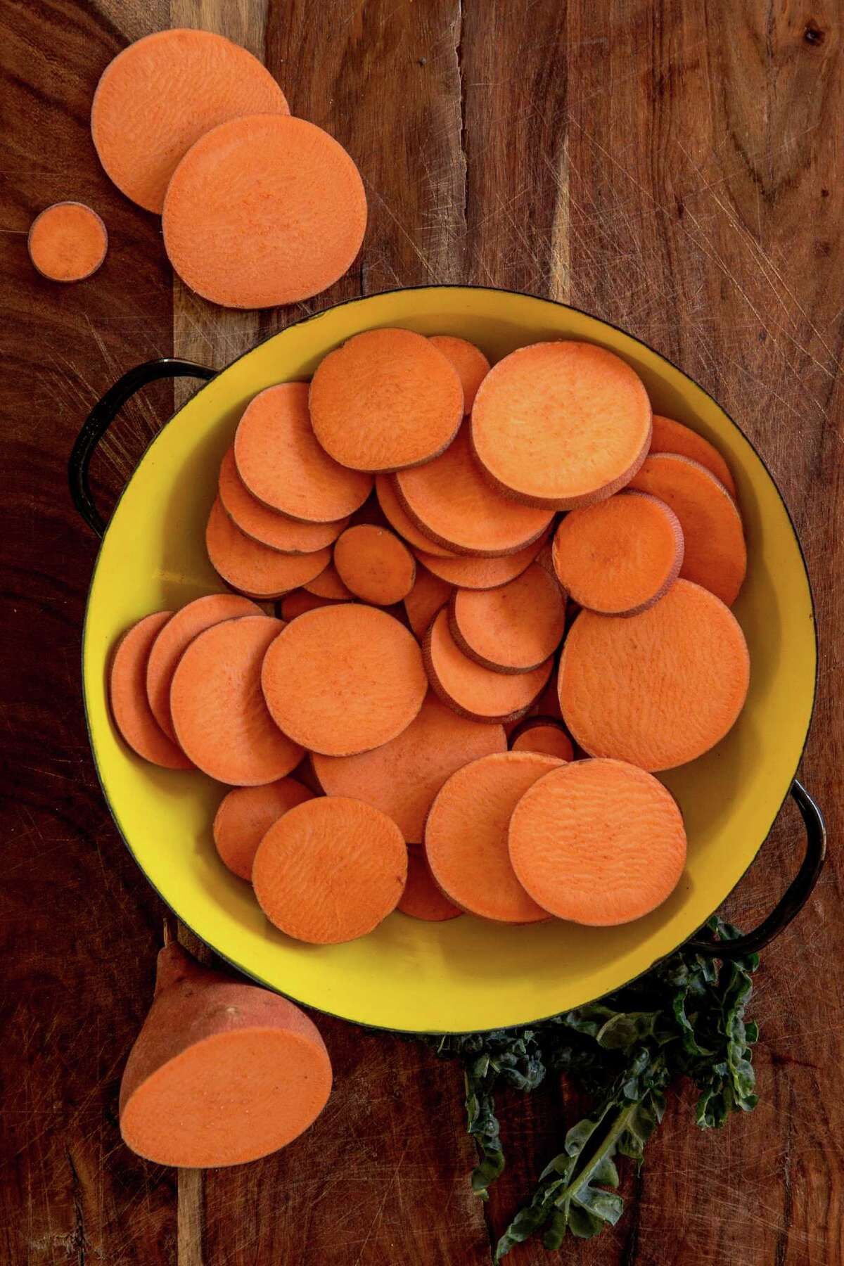 Sweet potatoes for Lauren Kiino's sweet potato and kale gratin.