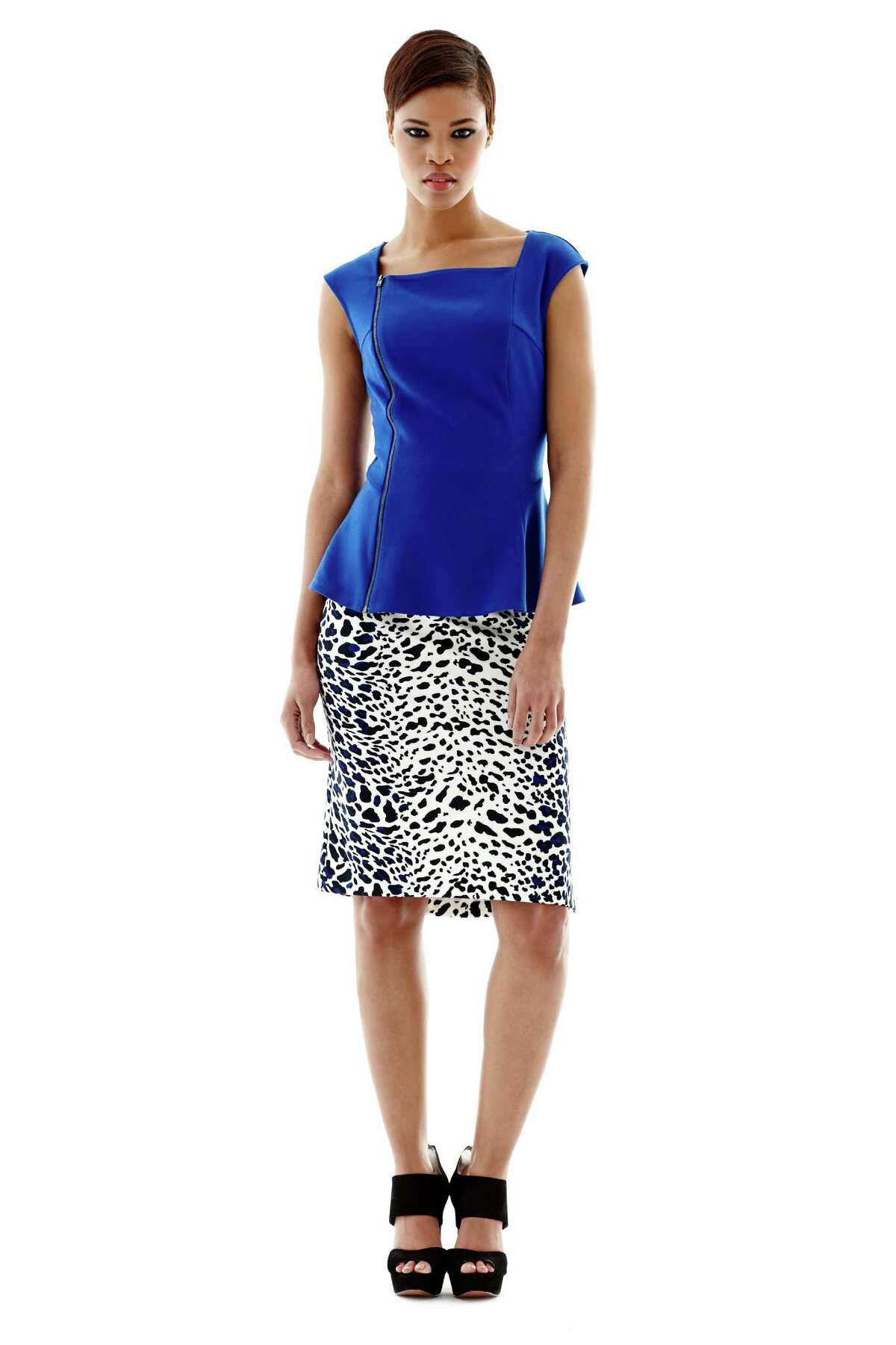 A bright cobalt blue side zip peplum top from Worthington is teamed with a animal print pencil skirt, each $36, both by Worthington, avialable at JCPenney.