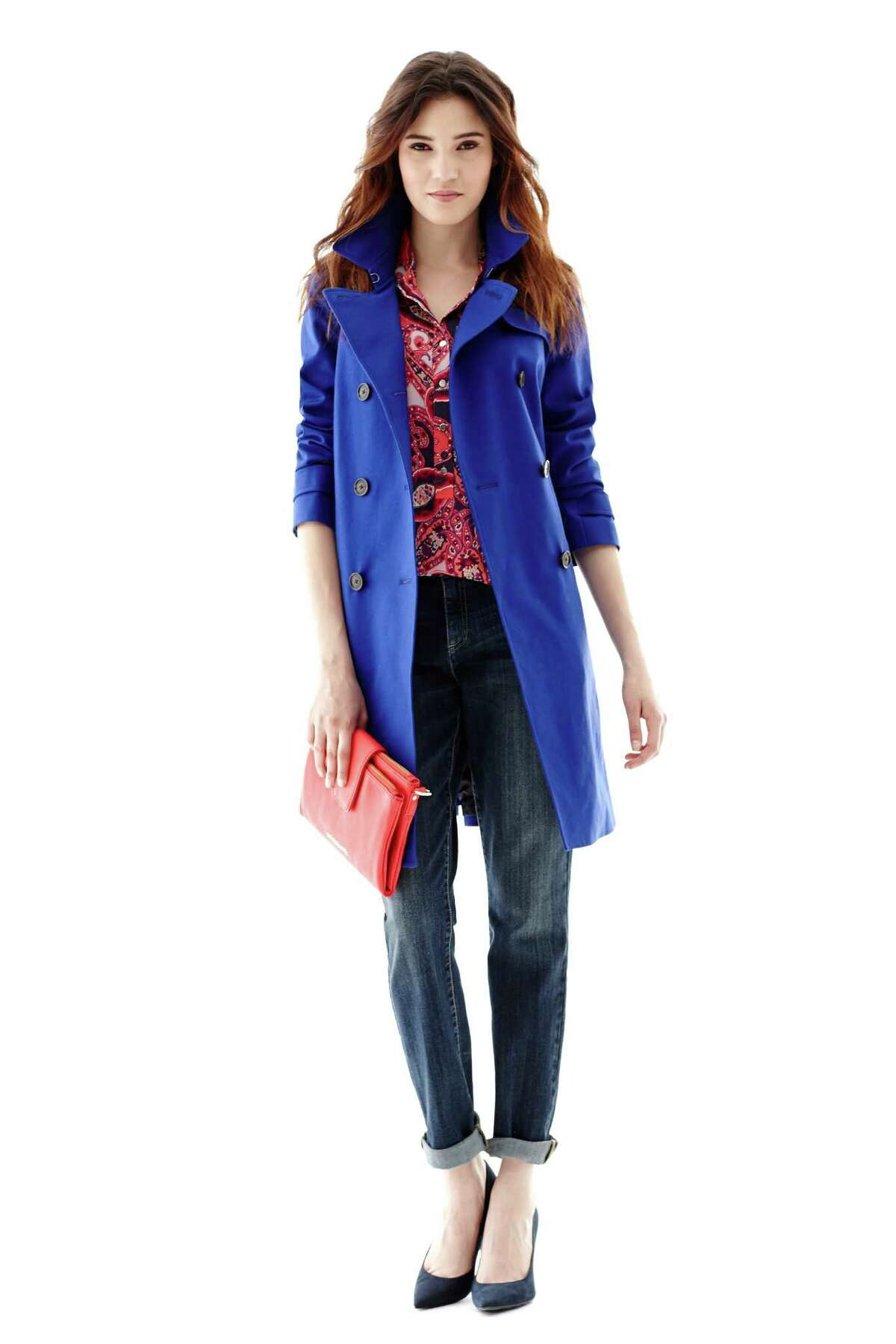 A bright cobalt blue trench coat is the perfect cover up for any fall ensemble. This one is by Liz Claiborne, $150, from JCPenney.
