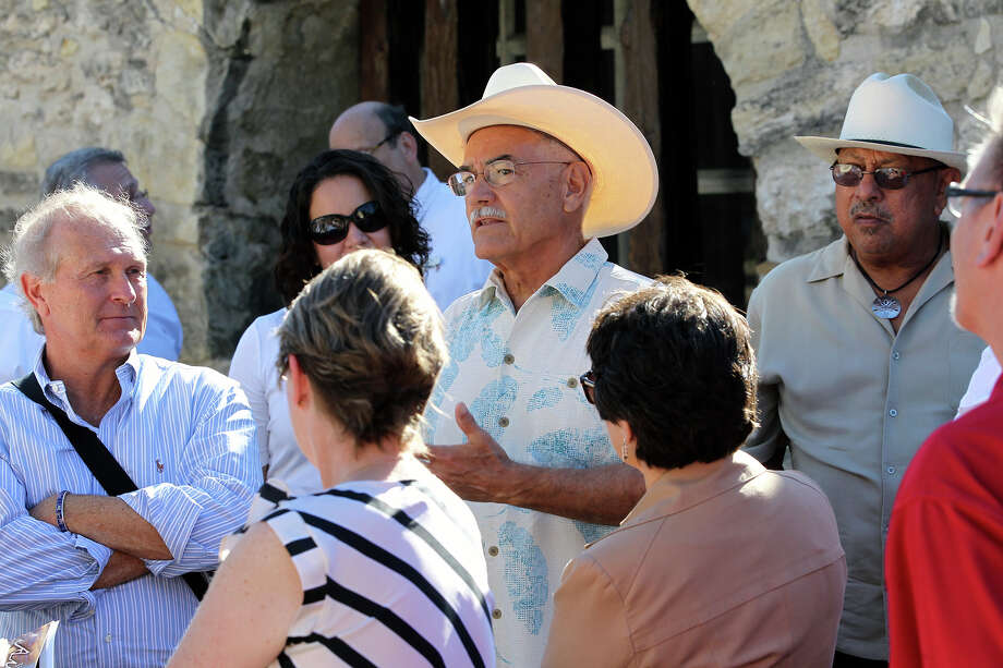 """Historian Andrés Tijerina, shown on a May 28 tour with the city's Alamo Plaza Advisory Committee, said he was struck by the panel's efforts to include """"healing"""" and perspectives of American Indians at the historic mission site. Photo: TOM REEL / TOM REEL / San Antonio Express-News / San Antonio Express-News"""