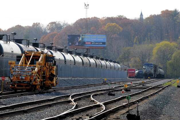 Oil tanker cars are parked Monday afternoon, Nov. 10, 2014, at the Port of Albany in Albany, N.Y. (Will Waldron/Times Union) Photo: WW