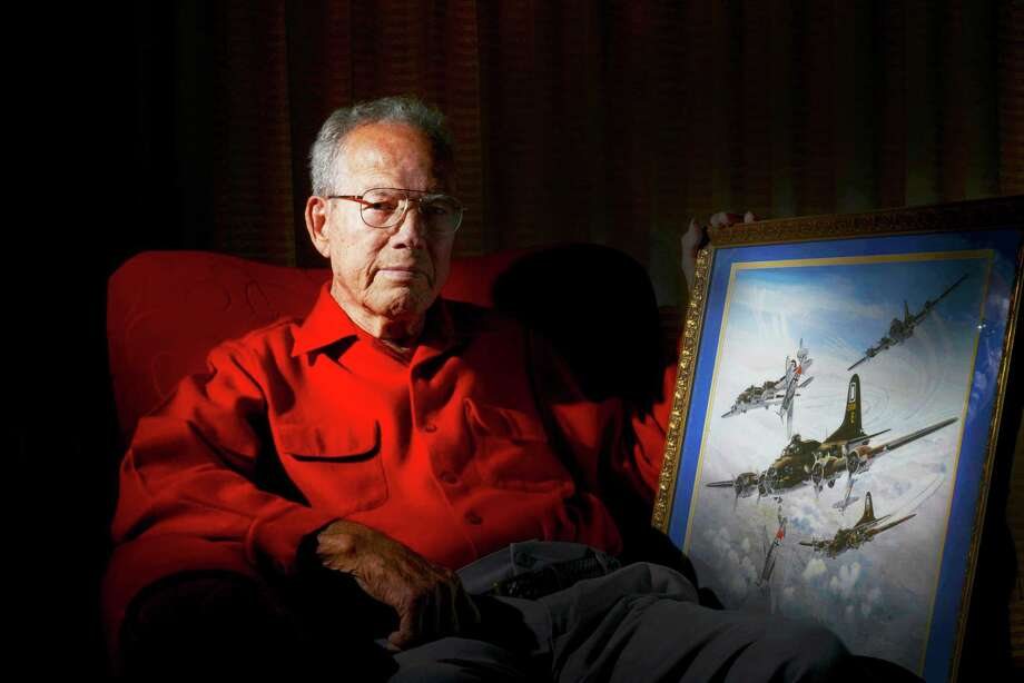 Peter Delao was a bombardier on a B-17 Flying Fortress during Word War II. He was photographed at home in San Antonio, Texas, on Wednesday, Oct. 29, 2014. Photo: Billy Calzada
