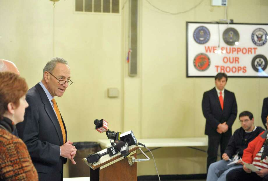 Senator Charles Schumer addresses those gathered for a press conference at the Sheehy Palmer VFW Post on Monday, Nov. 10, 2014, in Albany, N.Y.  Senator Charles Schumer held the press event to voice his support for a bill that would help stem the growing military suicide rate by expanding mental health screening for service members.  (Paul Buckowski / Times Union) Photo: Paul Buckowski / 00029419A