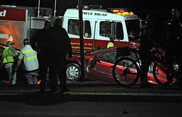 The car that drove into the Hudson River at the Corning Preserve boat launch is seen being pulled up on a tow truck on Monday, Nov. 10, 2014 in Albany, N.Y. A man in his 80's was found still alive in the car when rescued. (Lori Van Buren / Times Union) Photo: Lori Van Buren