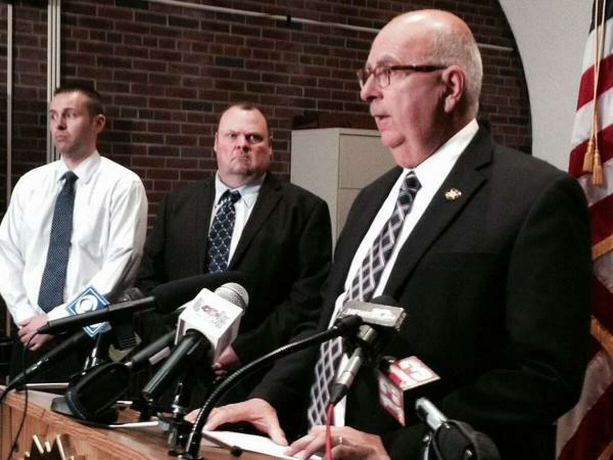 Saratoga County Sheriff Michael Zurlo holds a press conference Monday, Nov. 10, 2014, about former Sgt. Shawn R. Glans. (Lori Van Buren/Times Union)