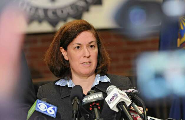 Saratoga County Acting District Attorney Karen Heggen speaks during a press conference where it was announced that the deputy involved in a recent video was charged and arrested and no longer is employed by the Saratoga County Sheriff's Office on Monday, Nov. 10, 2014 in Ballston Spa, N.Y.  (Lori Van Buren / Times Union) Photo: Lori Van Buren / 00029422A