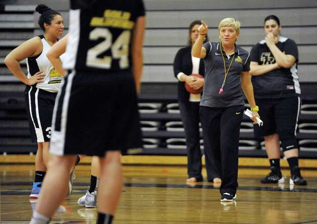 College of Saint Rose women's basketball head coach, Karen Haag, talks to her players during basketball practice on Tuesday, Oct. 21, 2014, in Albany, N.Y.  (Paul Buckowski / Times Union) Photo: Paul Buckowski / 00029117A