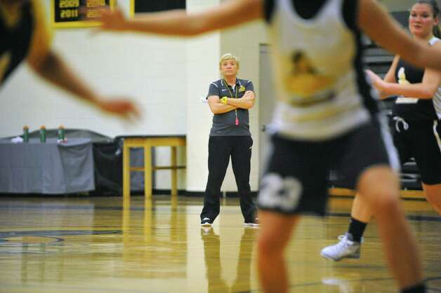 College of Saint Rose women's basketball head coach, Karen Haag, watches her players during basketball practice on Tuesday, Oct. 21, 2014, in Albany, N.Y.  (Paul Buckowski / Times Union) Photo: Paul Buckowski / 00029117A