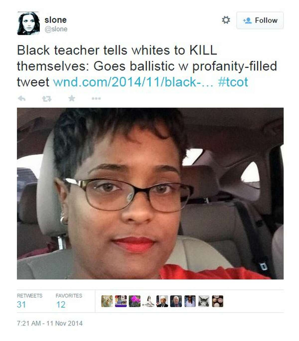 """A Texas teacher who took to Twitter on Friday to tell """"dumb duck (expletive) crackers"""" with opinions about ongoing racial unrest in Ferguson, Missouri, to """"kill themselves"""" could lose her job after major online backlash. Duncanville Independent School District officials suspended Vinita Hegwood, a second year Duncanville High School English teacher, without pay Monday morning after officials learned about a series of Hegwood's tweets on Friday night, WFAA reported."""