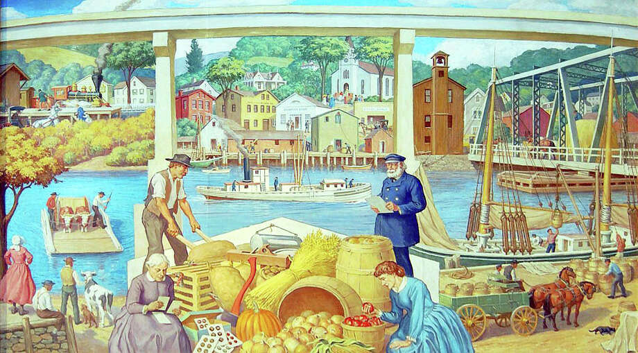 A restored mural depicting Saugatuck village in the 19th century will be featured in a Westport Historical Society exhibit opening Nov. 23. Photo: Contributed Photo / Westport News