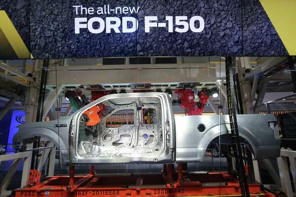 DETROIT, MI- JANUARY 14  -  The aluminium frame and body of the all-new F-150 is part of a display that shows how it is welded at  the  North American International Auto Show at Cobo Convention Center in Detroit. January 14, 2014.