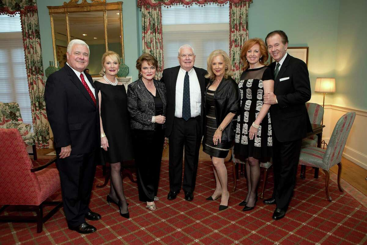 """Chairmen Bill and Kathi Rovere, honorary chair Beth Wolff, honorees David and Mary Ann McKeithan, and co-chairs Nancy and Hans Strohmer at the Junior League of Houston for the Living Bank's """"Small Miracles"""" Dinner."""