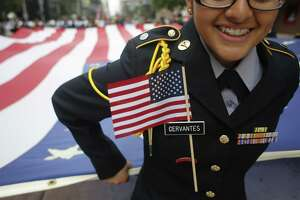 The Veterans Day parade gets underway Tuesday in downtown Houston.