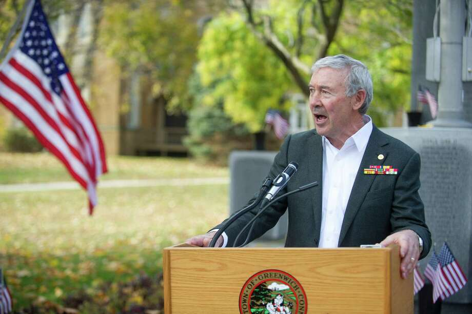 Ed Vick speaks during the annual Community Walk and down Greenwich Ave. and Greenwich American Legion ceremony in Greenwich, Conn., on Veteran's Day, Tuesday, November 11, 2014. Photo: Lindsay Perry / Stamford Advocate