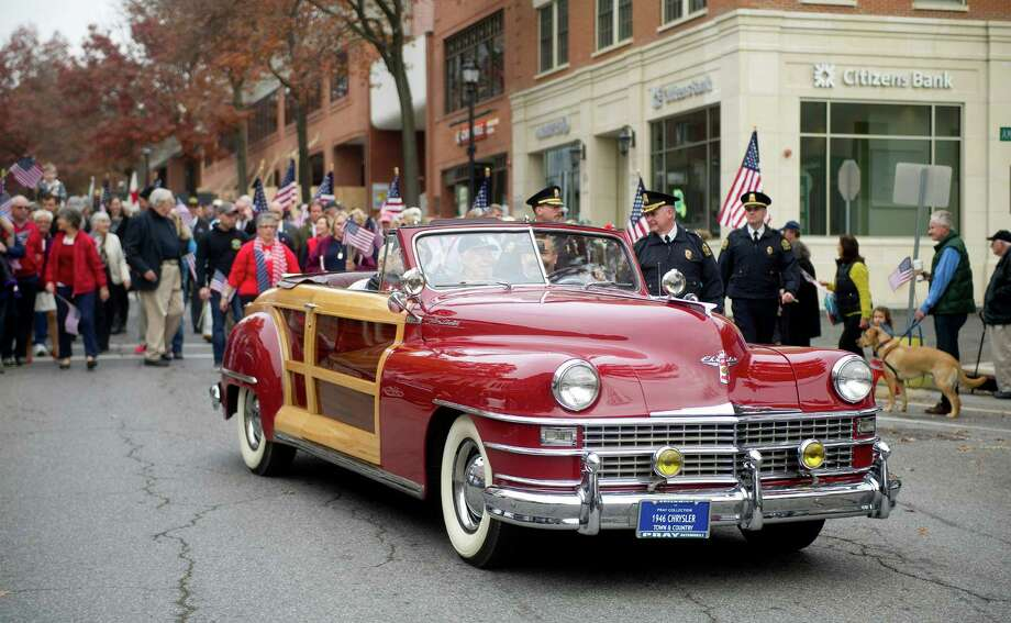 The annual Community Walk and down Greenwich Ave. and Greenwich American Legion ceremony in Greenwich, Conn., on Veteran's Day, Tuesday, November 11, 2014. Photo: Lindsay Perry / Stamford Advocate