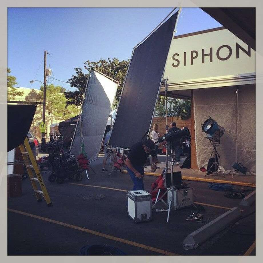 Crews from Foot Locker turned Montrose's Siphon Coffee into a pizzeria for the shoot on Sunday. James Harden will feature in a national TV ad for Nike, according to the coffee house. Photo: Siphon Coffee/Instagram
