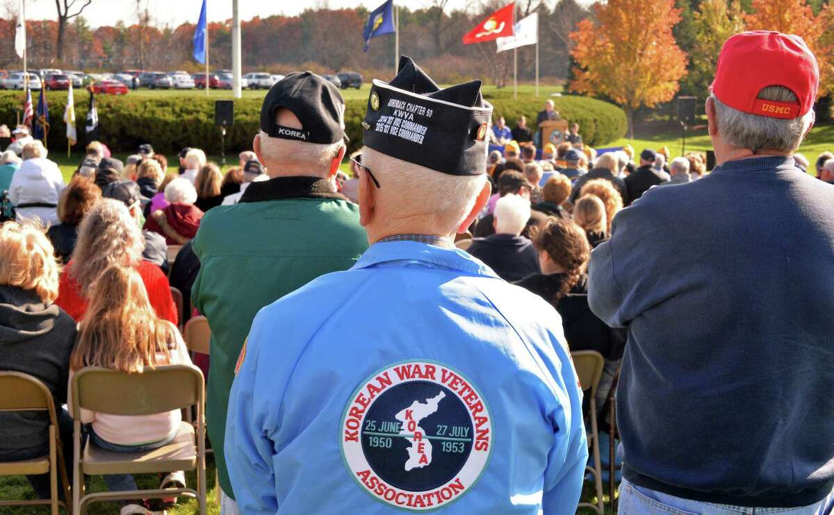Veterans make up a large part of those in attendance during the Gerald B. H. Solomon Saratoga National Cemetery Veterans Day Ceremony Tuesday Nov. 11, 2014, in Schuylerville, NY. (John Carl D'Annibale / Times Union)