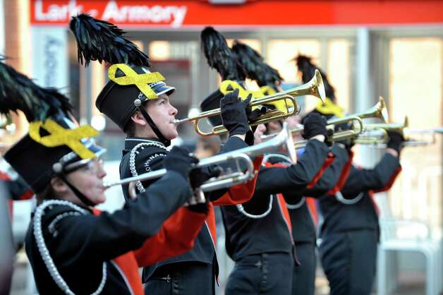Members of the Mohonasen Marching Band perform as they march in the Albany Veterans Day parade on Tuesday, Nov. 11, 2014, in Albany, N.Y.   (Paul Buckowski / Times Union) Photo: Paul Buckowski / 00029393A