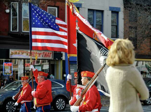 Veterans with the William Dale O'Brien Detachment of the Marine Corps League march along Central Avenue as they take part in the Albany Veterans Day parade on Tuesday, Nov. 11, 2014, in Albany, N.Y.   (Paul Buckowski / Times Union) Photo: Paul Buckowski / 00029393A
