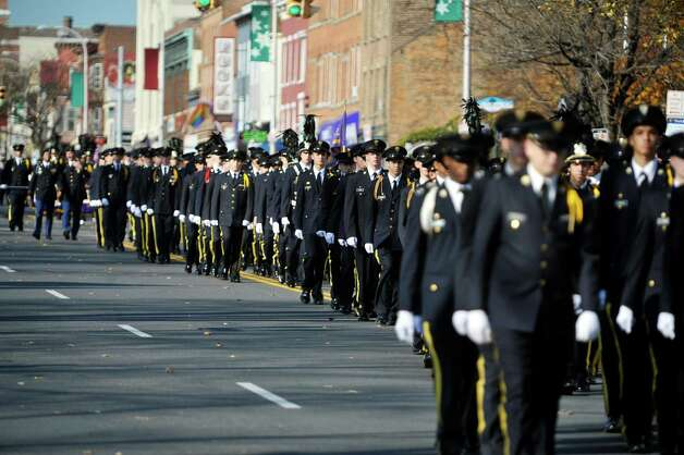 Christian Brothers Academy students march down Central Avenue as they take part in the Albany Veterans Day parade on Tuesday, Nov. 11, 2014, in Albany, N.Y.   (Paul Buckowski / Times Union) Photo: Paul Buckowski / 00029393A