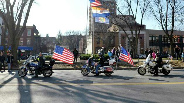 Members of the Patriot Guard Riders take part in the Albany Veterans Day parade on Tuesday, Nov. 11, 2014, in Albany, N.Y.   (Paul Buckowski / Times Union) Photo: Paul Buckowski / 00029393A