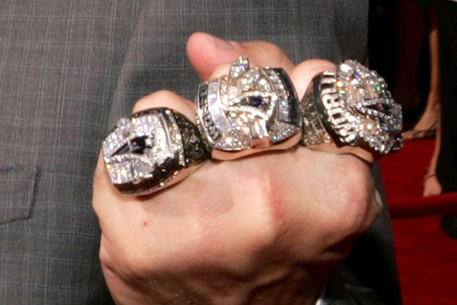 The three Super Bowl rings of Houston Texans linebacker coach Mike Vrabel – which would have looked much like these seen on the hand of his former coach Bill Belichick at the 13th Annual ESPY Awards – were stolen from his Houston home in November 2014. Photo: Mark Mainz, Getty Images / 2005 Getty Images