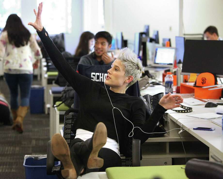 Zenefits benefits coordinator Kaila Karr, above, books time for a demonstration at the company's San Francisco offices. CEO Parker Conrad, below, is trying help the company increase its size at a reasonable pace. Photo: Liz Hafalia / The Chronicle / ONLINE_YES
