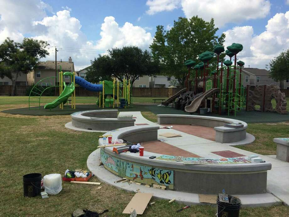 Tile was installed in the outdoor classroom at Pine Shadows. Photo: SPARK Park