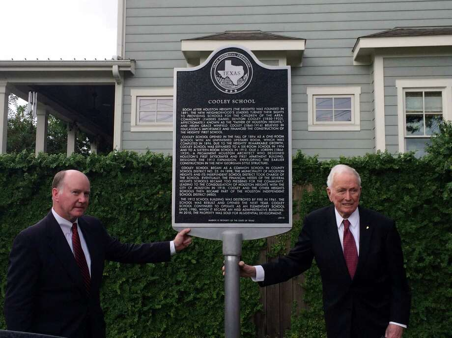 Participants at the ceremony to unveil a historical marker for the Cooley School included Daniel Denton Cooley's great-grandson, Dan Cooley II, left, and grandson Dr. Denton Cooley. Photo: Sullivan Brothers Builders