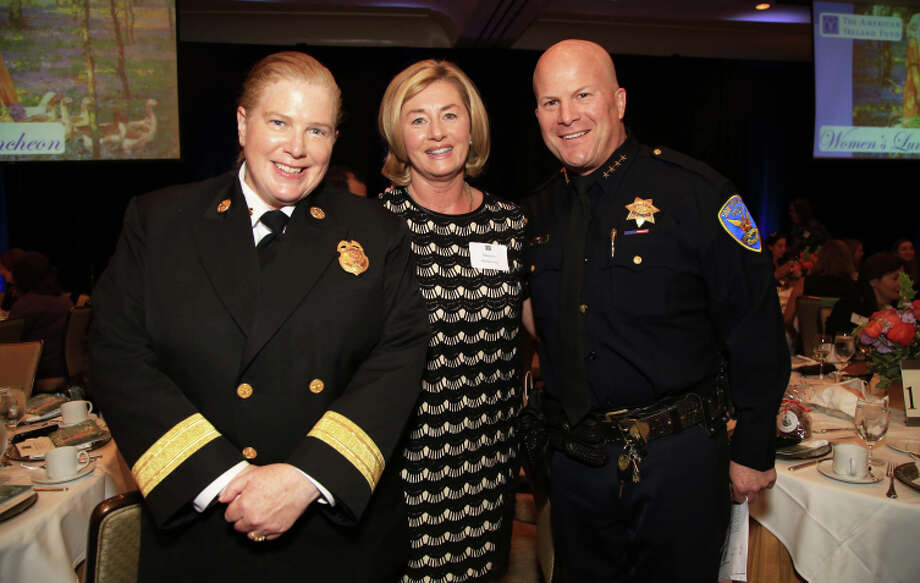 SFFD Chief Joanne Hayes-White (left) with Marjorie Muldowney and SFPD Chief Greg Suhr. Photo: Michael Mustacchi / Special To The Chronicle / ONLINE_YES