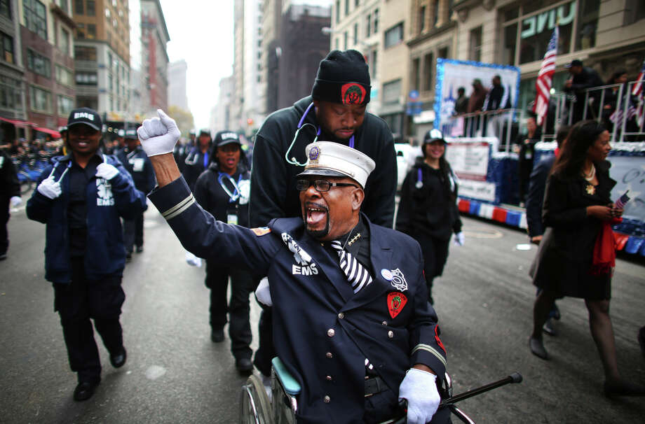 Emergency responders join the Veterans Day parade on Fifth Avenue in New York. Thousands of veterans and their supporters marched in the parade, the nation's oldest. Photo: CHANG W. LEE / New York Times / NYTNS