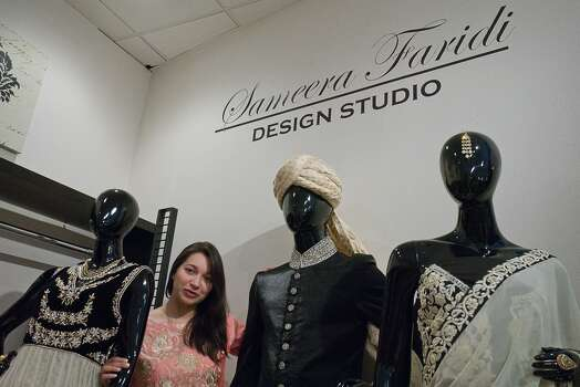 Designer and entrepreneur Sameera Faridi with some of her creations in her Southwest Houston Studio. Photo By R. Clayton McKee Photo: R. Clayton McKee, For The Chronicle / © R. Clayton McKee
