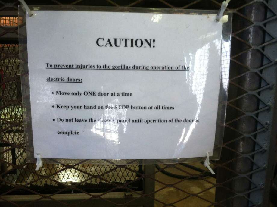 A sign posted in the San Francisco Zoo's gorilla enclosure says zoo keepers are required to keep a hand on an emergency stop button for the hydraulic doors, which has prompted officials to look at how it happened that a young gorilla was tragically crushed to death Friday. / ONLINE_YES