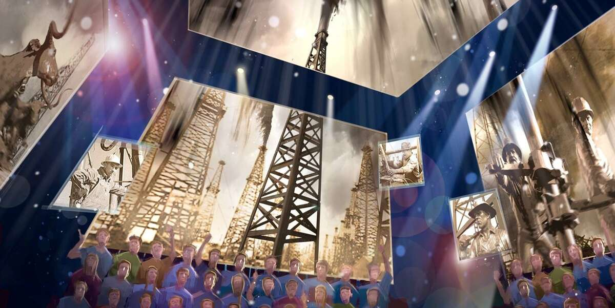 """The spindletop, railroad and Johnson space center """"conceptualizations"""" are courtesy of BRC Imagination Arts"""