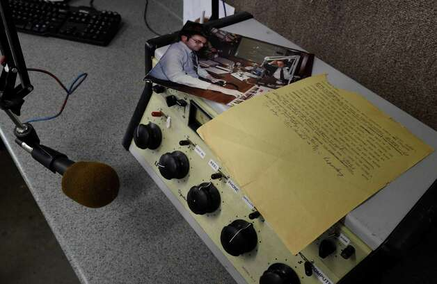 The script that Bob Cudmore used on the day John F. Kennedy was shot sits atop an older model audio control Tuesday morning, Nov. 11, 2014, in the studios of WVTL in Amsterdam, N.Y.     (Skip Dickstein/Times Union) Photo: SKIP DICKSTEIN / 00029412A