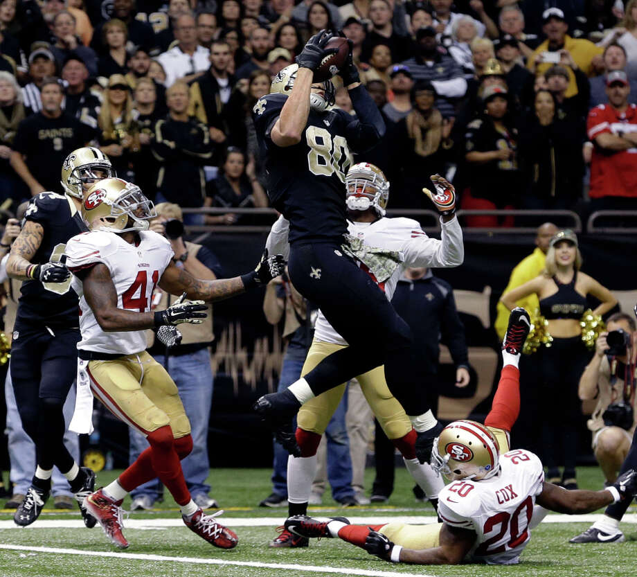 Saints tight end Jimmy Graham (80) was called for pass interference on his apparent TD catch at the end of regulation. Photo: Jonathan Bachman / Associated Press / FR170615 AP